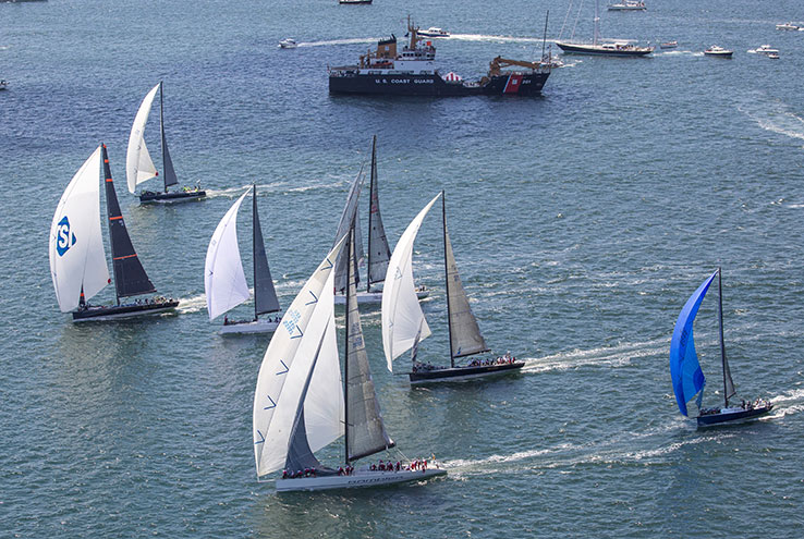 NEB built yachts Bella Mente and Wizard on the start line of the 2012 Newport Bermuda Race