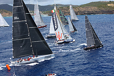 Rambler and Bella Mente on the start line of the RORC Caribbean 600 Race