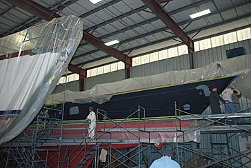 Swan 80 and 68 ft Aluminum ketch being prepped for paint.